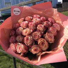 Букет из 25 персиковых роз 1286