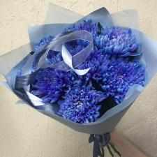 Букет из синих хризантем 9 шт.