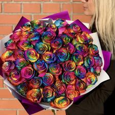 Радужные розы 51 шт 2135