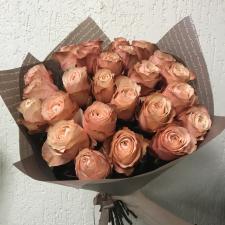 Букет из 25 персиковых роз 886